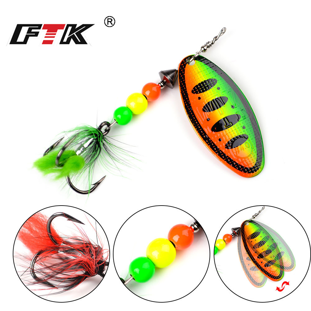 FTK Spinner Bait 3Size 1pcs Metal Fishing Lure 8/14/20g Hard Spoon Lures with Feather Treble Hooks Carp Pike Tackle