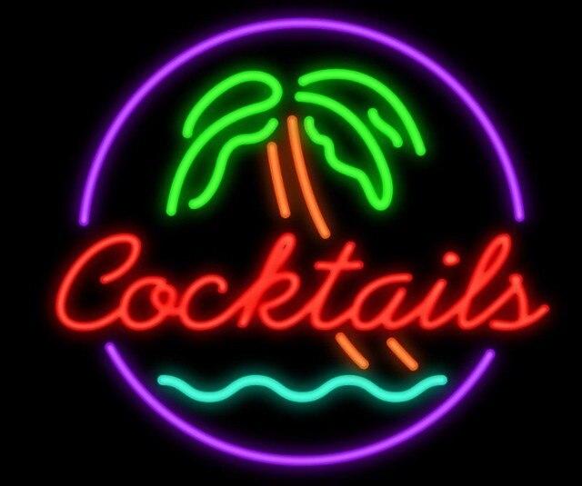 Cocktails Palm Tree Garage Neon Light Sign Beer Bar