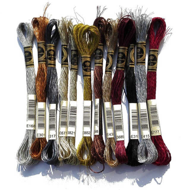 Oneroom 1pcs โลหะมีค่าผลโลหะสำหรับ cross stitch เดียวกันสี DMC floss E168 เงินเย็บปักถักร้อย DIY