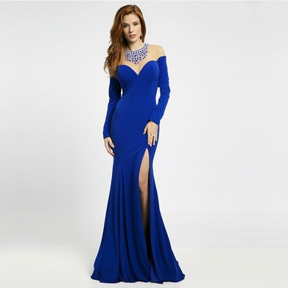 Sexy-Women-Mermaid-Royal-Blue-Evening-Dress-O-Neck-Side-Slit-Beaded-See-Through-Long-Sleeve