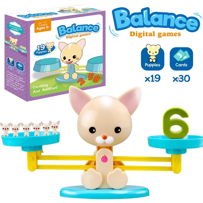Niños Aprendizaje Temprano juguetes de matemáticas niños dibujos animados cachorro equilibrio Digital Montessori juguete educativo aritmético para niños y niñas