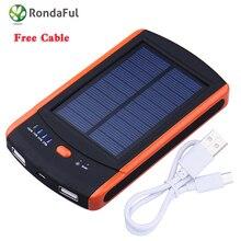 2016 Nuevo Banco de la Energía 6000 mAh Cargador de Batería Externa Solar Impermeable Cargadores de Batería Dual USB Powerbank para Smartphones
