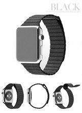 1 самых продаваемых черный натуральная кожа петли полосы с магнитным замком для Apple , часы 38 мм 42 мм