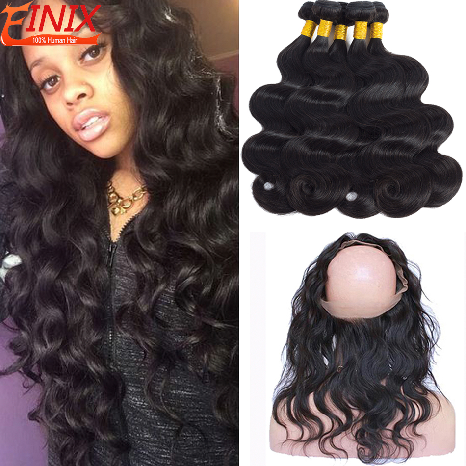 Pre Plucked 360 Lace Frontal With Bundles Malaysian Body Wave Hair With 360 Frontal Closure 8A Virgin Human Hair With Frontal