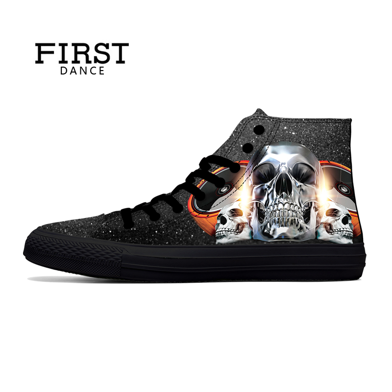 FIRST DANCE Casual Black Punk Skull High Top Shoes Men Classic High Canvas Shoes Fashion 3D
