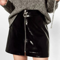 2017 Spring Fashion Woman New Black Shiny Faux Leather Short A-line Skirt MINI PATENT FINISH SKIRTS