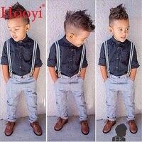 Hooyi Fashion Baby Boys Clothes Suits Children Handsome 2 Pieces Set Kids Black Shirt Braces Trouser