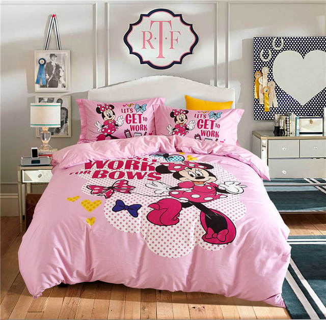 Pink Minnie Mouse Disney Cartoon 3D Printed Bedding Set Girl\'s ...