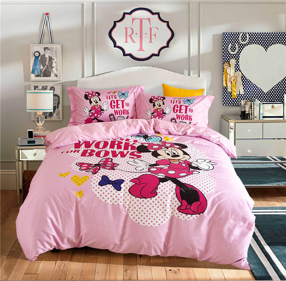 Pink Minnie Mouse Disney Cartoon 3D Printed Bedding Set Girls Bedroom Decor Cotton Bed Duvet Covers Single Twin Full Queen Size