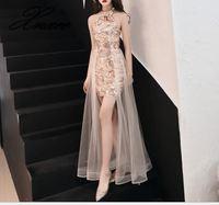 Golden dress female 2019 new elegant sexy slim party party dress