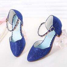 Yeni Prenses Kız Sandalet Çocuk Ayakkabı Kızlar Için Elbise Ayakkabı Küçük Yüksek Topuk Ayakkabı Moda Glitter Parti Dans Düğün Sandalet