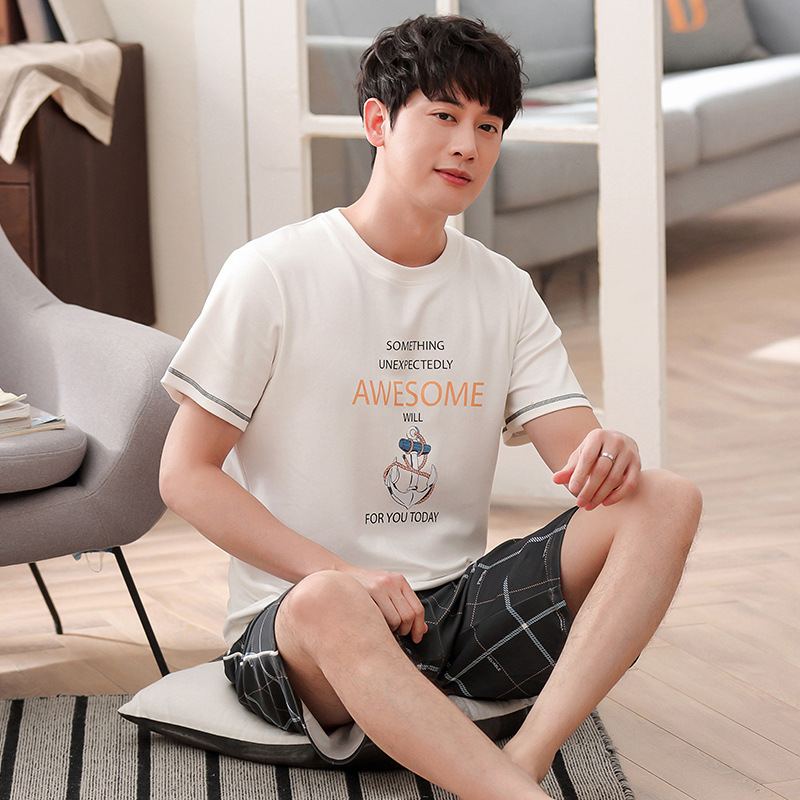 Men summer cotton new pajamas Korean simple natura short sleeve shorts thin casual men pajama sets mens pajama set  men pajamas(China)