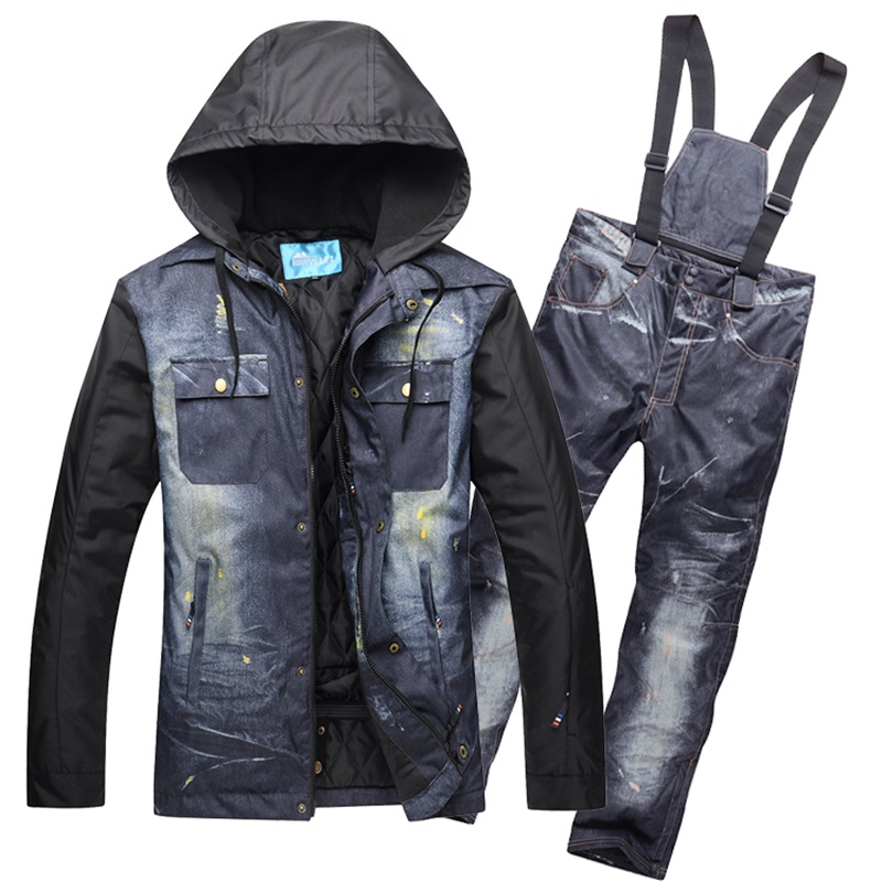 adfdc3ec52 Professional Men Skiing Snowboarding Jackets Pants Waterproof Warm Winter Snow  Ski Suits Man Snowboard Clothing Set Brand