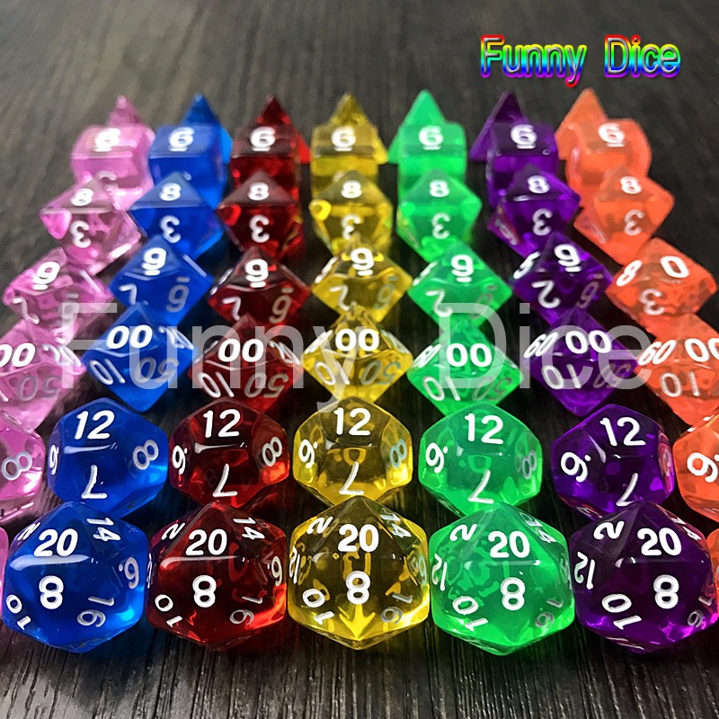 High Quality1 set of 7 sided dice D4 D6 D8 D10 D12 D20 for dungeons and dragons dice dados rpg Board Game Desk Game