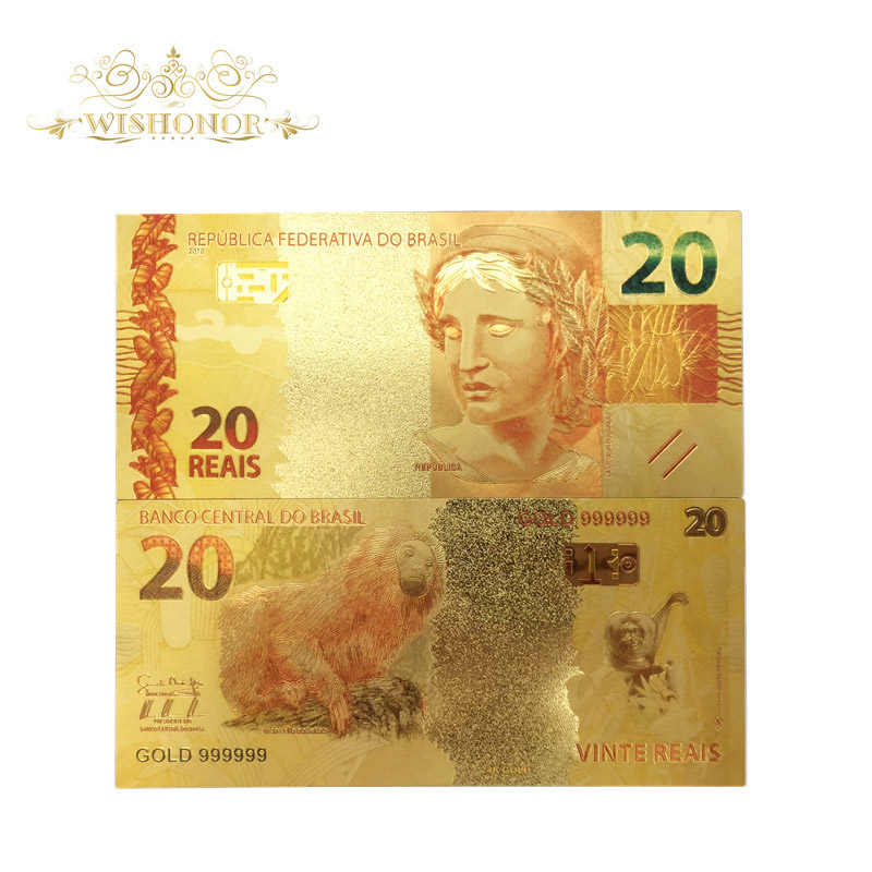 10pcs/lot Color Brazil Gold Banknotes 20 Reals Banknote in 24K Gold Fake Paper Money For Collection