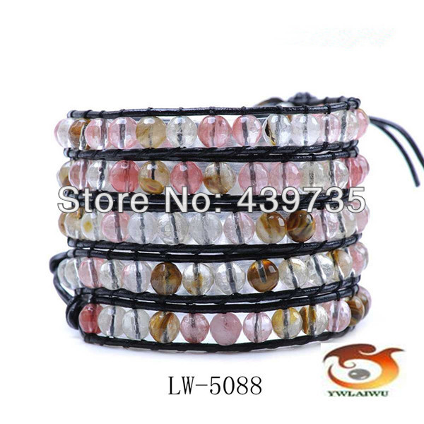 Multilayer bracelet hot sell leather multi wraps 6mm agate beads charm bracelet for men and women  LW-5088