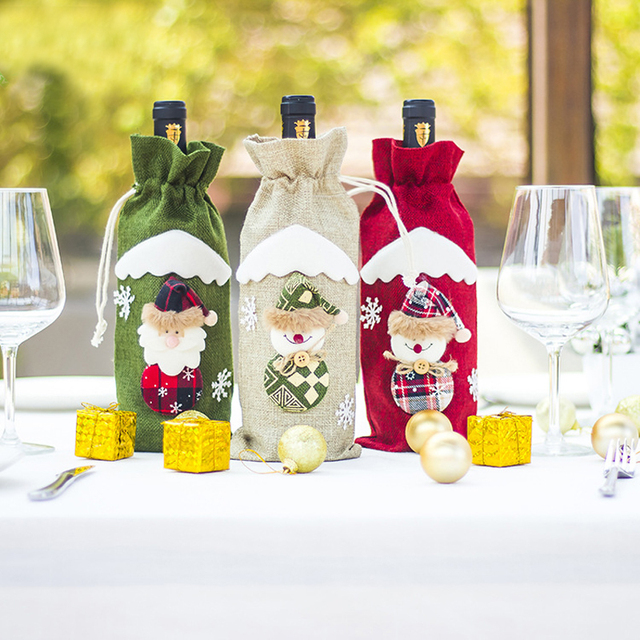 a4ddd3d89a754 2019 Creative Wine Bottle Bags Wine Champagne Bottle Set Kitchen Decoration  New Christmas Gifts Home Bottle Decoration Crafts