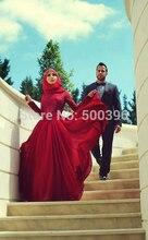 Muslimischen Dubai Arabische Abendkleid 2017 Neue Rote Chiffon Eine linie Abendkleid Mit Langen Ärmeln Frauen Formale Kleider