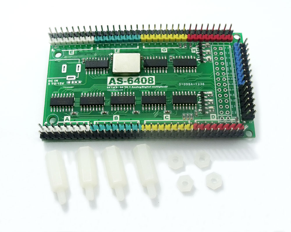 AS-6408 64 a 8 o 1 Interruptor de multiplexor analógico digital para Arduino STM32 MCU DAQ IoT Channel