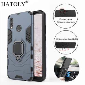 HATOLY For Huawei P20 Lite Case Cover Magnetic Suction Ring Bracket Cases Silicone Rubber Hard Armor Cover for Huawei P20 Lite