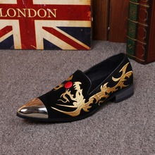 New British Style Suede Men Loafers Luxury Smoking Loafer Moccasins Embroidery Party Banquet Formal Dress Shoes
