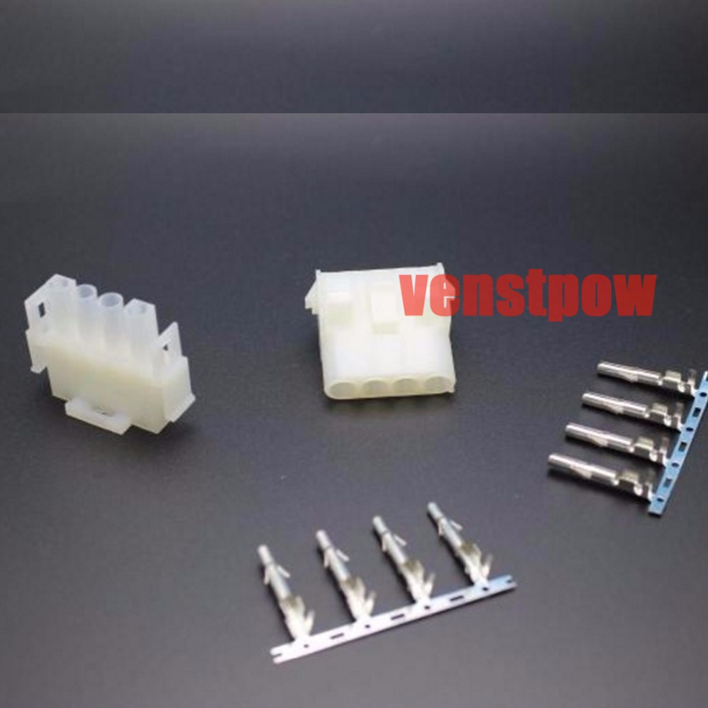 10 set 4 Pin way Electrical Wire Connector Plug 63080 6.3mm pitch connectors kit (Housing+Terminal) (42021 42022) for car