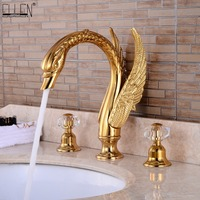 Soild brass gold finish faucet bathroom golden swan faucets double handle three hole wash basin tap mixer