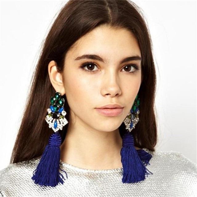 Brincos Grandes Trendy 2017 Big Crystal Long Water Drop Tassel Earrings for Wome