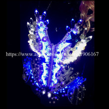 LED Light Luminous Dancing Ballroom Sexy Women DS Costumes With Headwear  Glowing Bar Party Disco Singer 9f09fa6021a8