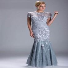 Heißer Silber Meerjungfrau Abendkleider Mit Kurzen Ärmeln Perlen Party Prom Abendkleider