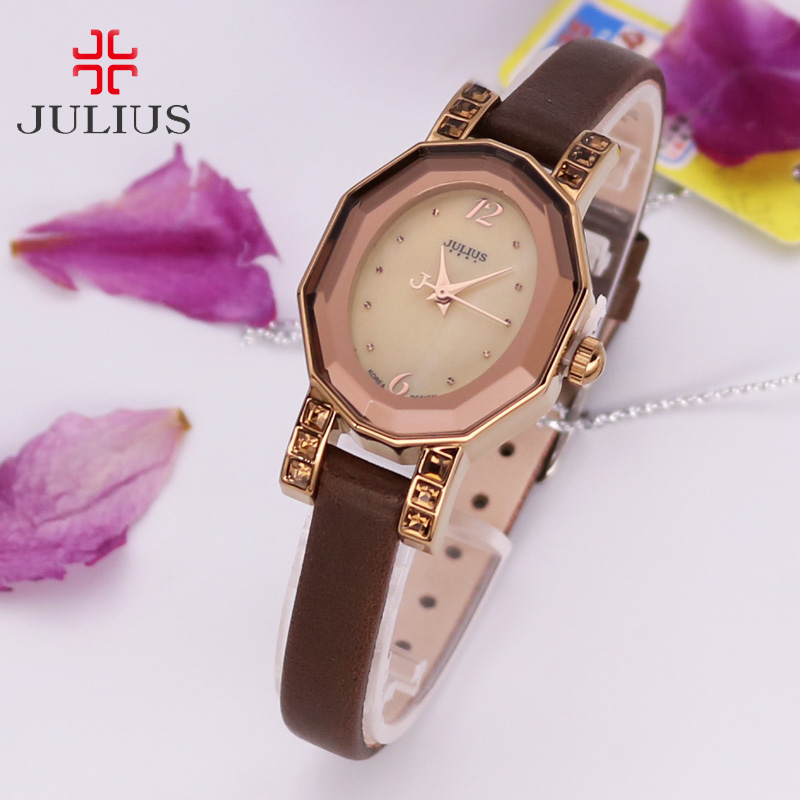 Lady Women's Watch Japan Quartz Classic Fashion Shell Hours Dress Simple Retro Leather OL Girl Birthday Lovers Gift Julius Box