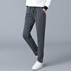 Image 3 - Grande taille lâche chaud Harem pantalon femmes automne hiver graisse femme velours épais pantalon décontracté pantalon de sport M 6XL