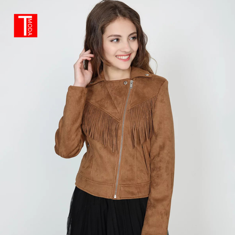 2018 Autumn Winter New Women Soft   Suede   Faux   Leather   Jacket Lady Fall Tassel Coat Biker Brown Matte Zippers Outerwear