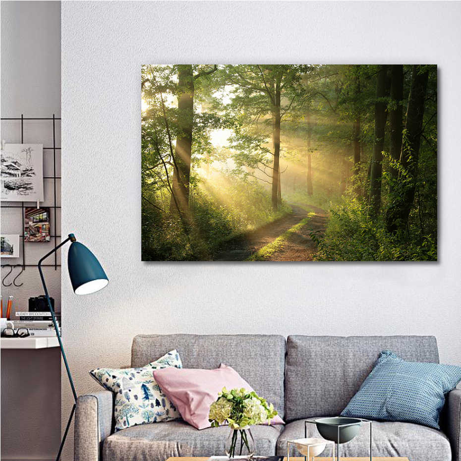 Dirt road through deciduous forest at dawn Canvas Painting DIY Solid Wood Pictures Frame Poster Print Wall Art Home Decor