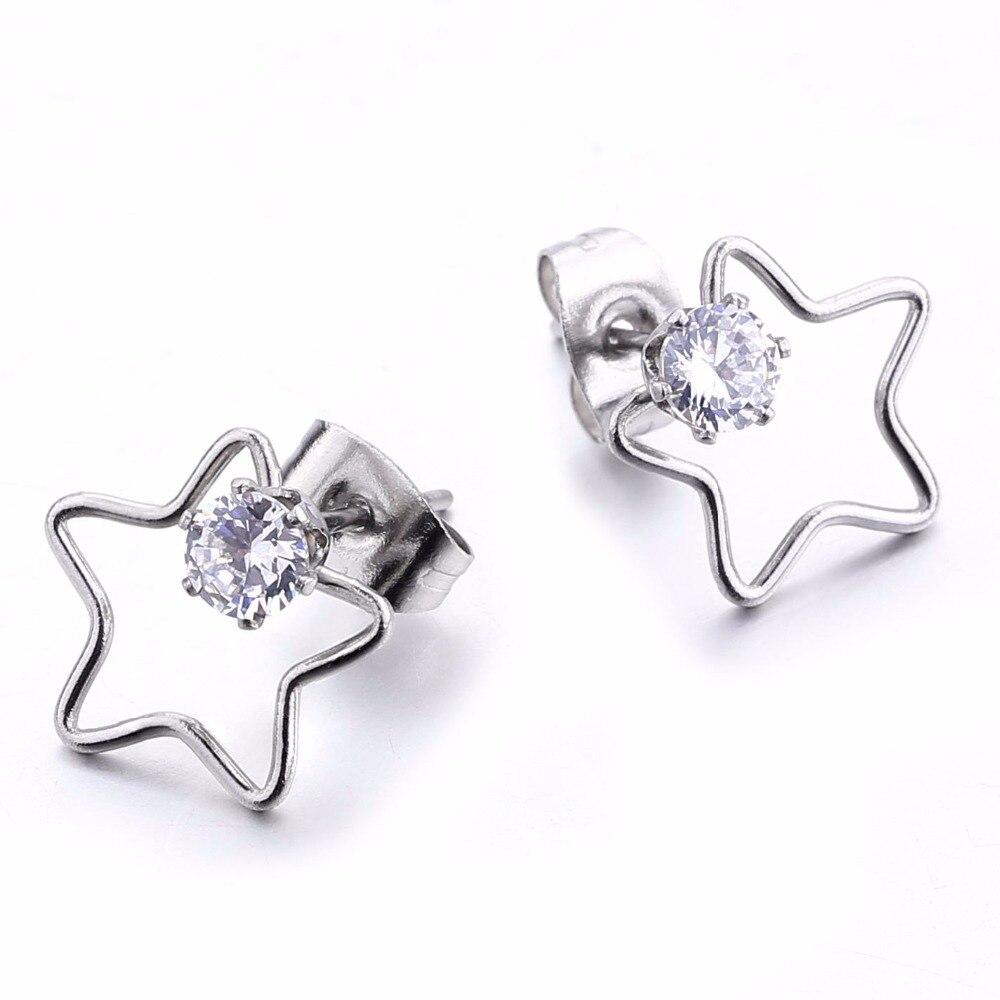 Fashion heart earrings star shape charm zircon ear stud stainless steel round body piercing jewelry men women 1pair