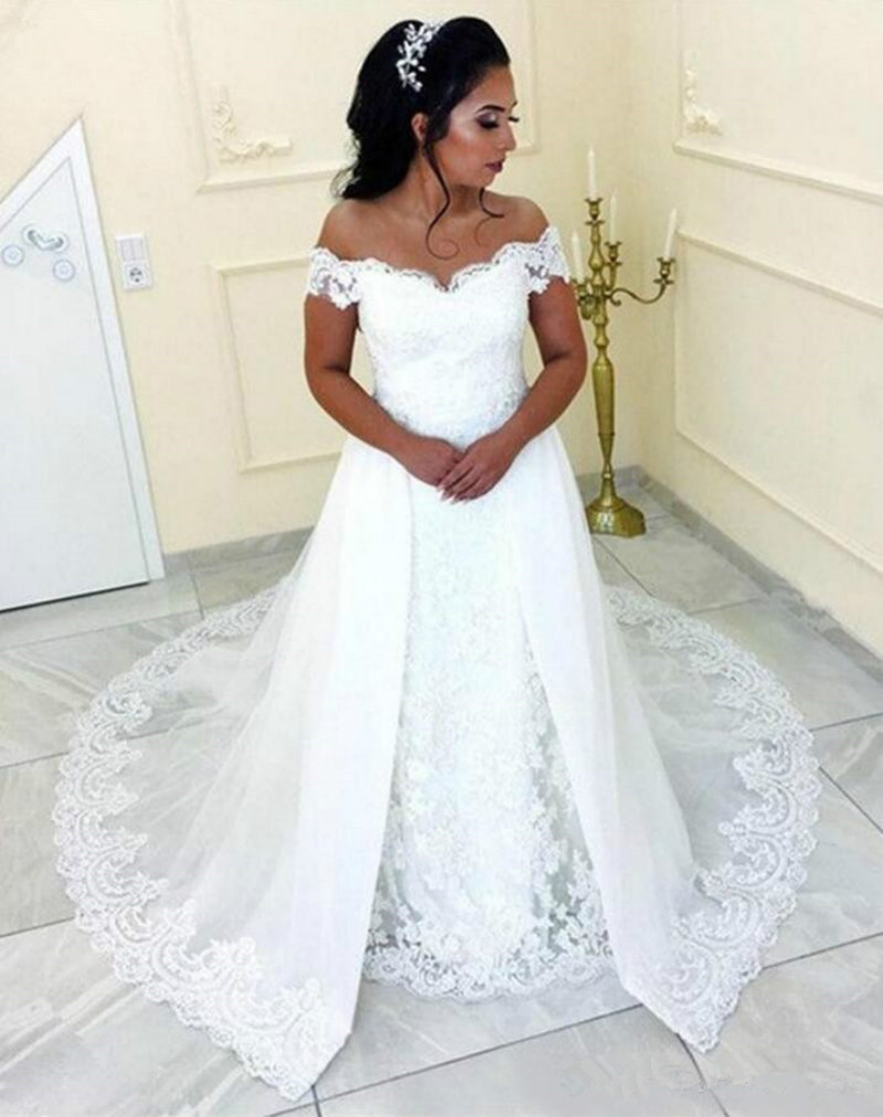 Elegant Lace Off The Shoulder Wedding Dress With Detachable Skirt