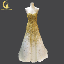 100% Real Picture New Arrival Sweetheart Gold Beads Crystal Sexy vestido de festa longo Bridal Wedding Gown wedding dresses