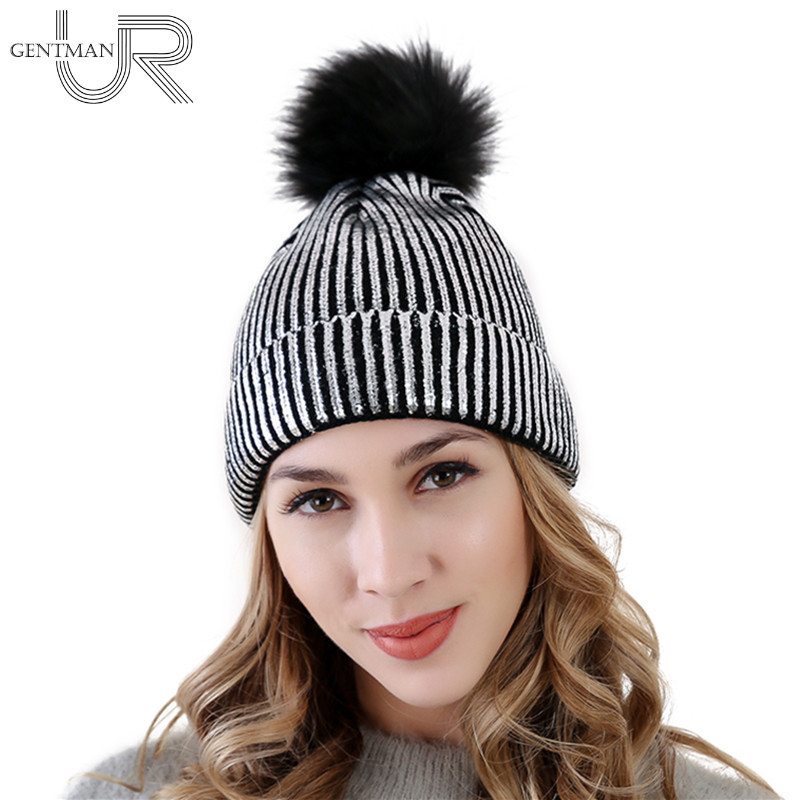 High Quality Gold And Silver Hat Pompon Hat For Women Knitting Warm Winter Hats Female   Skullies     Beanies