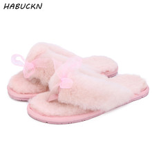HABUCKN nature sheep fur wool lined women winter slippers winter home leisure shoes indoor baboosh navy blue red chinela(China)