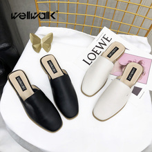 купить Wellwalk Genuine Leather Shoes Women Slippers Female Mules Shoes Brand Slippers Ladies Slides Shoes Fashion Mules Women по цене 1715.9 рублей