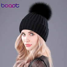 boapt Warm Natural Raccoon Fur Hats for Women Knitted Braid Beanie Female Caps Pompon Headgear