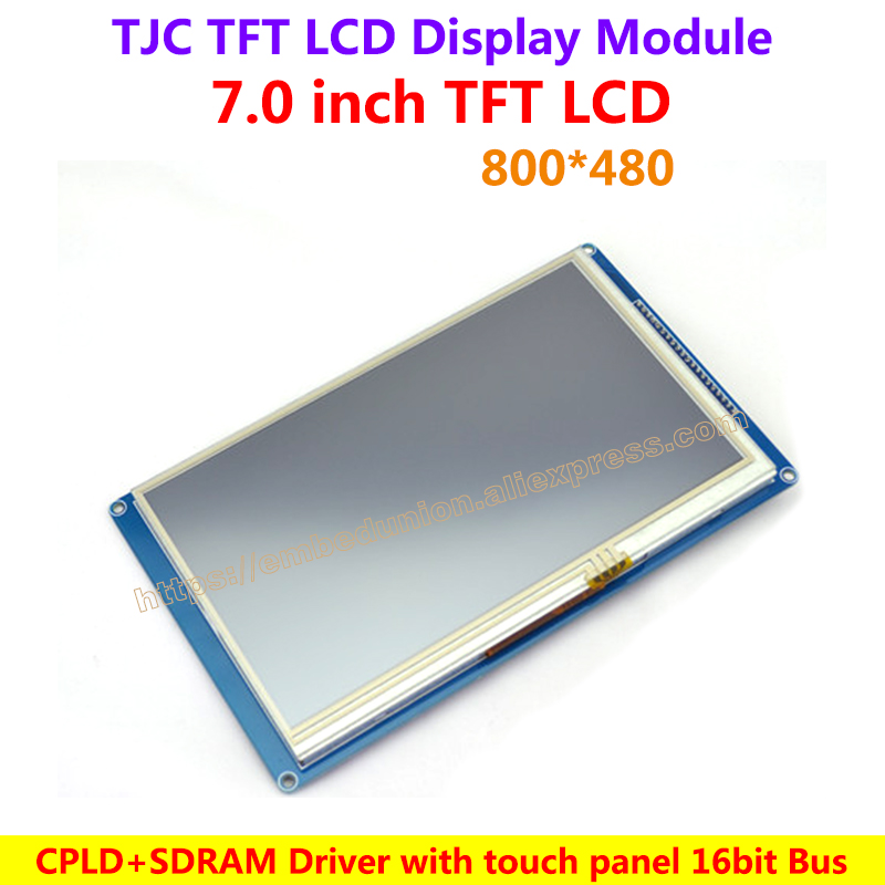 TJC7.0 inch MCU interface TFT LCD Module high jamming immunity industrial CPLD+SDRAM Driver 800*480 16bit Bus
