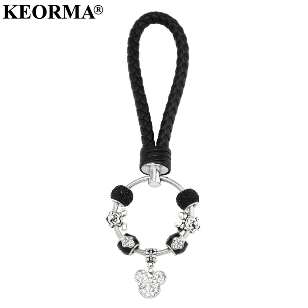 KEORMA Romantic Black Leather Key Chain Woman Mickey Mouse Charms Pendant Car Keychain for Women Men Jewelry YK008