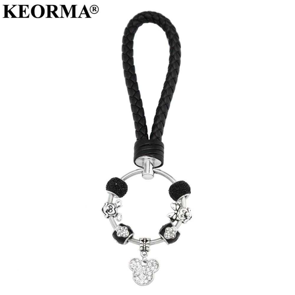 KEORMA Charms romantico Charms nero Portachiavi in pelle Topolino Charms Ciondolo Portachiavi auto per gioielli da donna