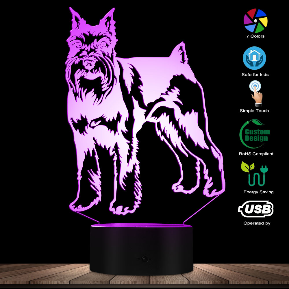 Miniature Schnauzer Standing Portrait Dog LED Night Light 3D Table Decor Lamp Animal Pet Puppy Kid Room Night Light Sleepy Lamp