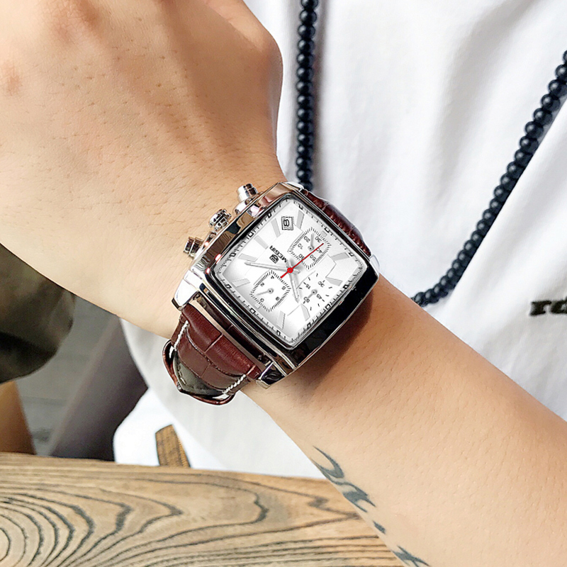 MEGIR Fashion Casual Men Watch Luxury Military Sports Watches Leather Band Waterproof Quartz Wristwatches Male Relogio Masculino