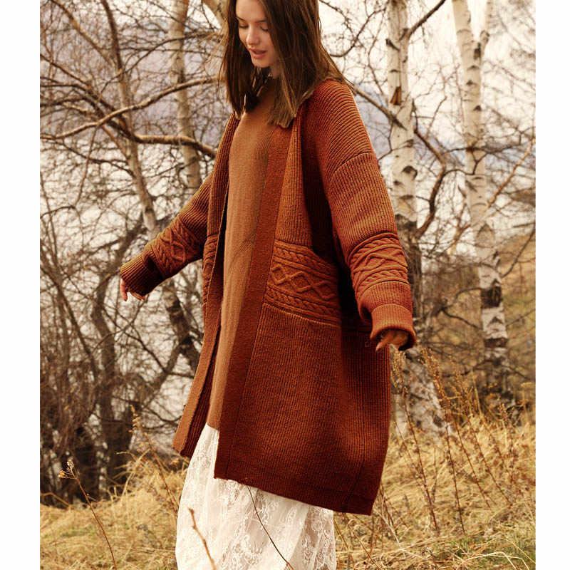Amii минималистский кардиган для женщин свитер осень 2019 Элегантный Дизайн Твердые свободные лоскутное Винтаж Женский вязаный пальт