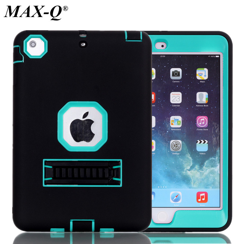 MAX-Q NEW Shockproof Heavy Duty Case For iPad mini 2 Protect Skin TPU Hybrid Cover Kicktand Case For iPad mini 1 3