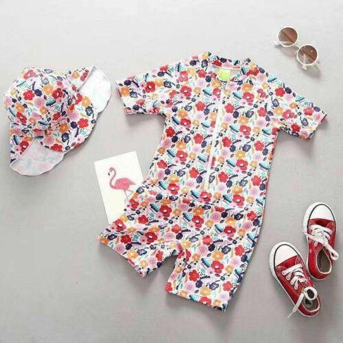 100% Kwaliteit Kids Baby Meisjes Bloemen Badmode Badpak Beachwear Jumpsuit Badpak + Hoed
