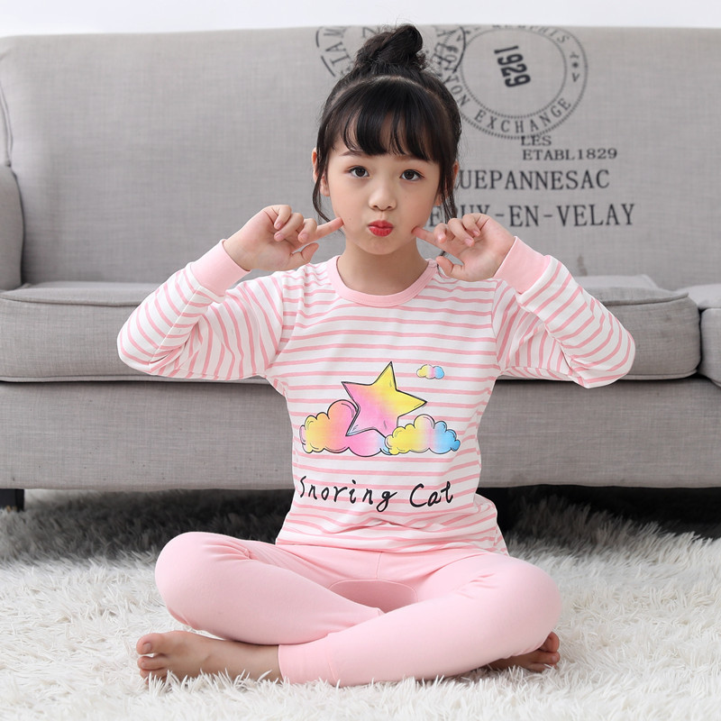 New Long Sleeved   Pajamas     Set   For Kids Girls Pijama Infantil Cotton Baby Girls Clothes Cartoon Pyjamas Kids Nightwear   Pajamas